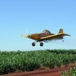 Aplicação aérea de fungicida em milho safrinha em Peabiru (PR), envio de Rodrigo Tonet