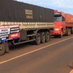 Caminhoneiros durante bloqueio na BR-463, em Sanga Puitã (Foto: Martim Andrada/ TV Morena) - G1 MS
