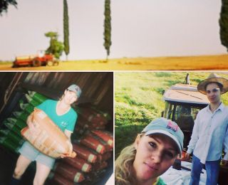 Mariane e seu filho Douglas no plantio de milho em Nova Santa Rosa (PR)