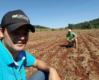 Técnico agrícola Flávio Fernandes e o produtor Fernandes Trofino na lavoura de milho safrinha em Anahy (PR)