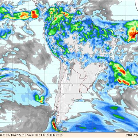 Mapa com a previsão de precipitação do GFS para os próximos 3 dias no Brasil - Fonte: COLA
