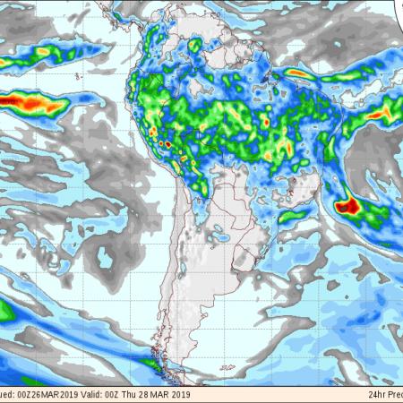 Mapas do modelo GFS com a previsão de chuvas nos próximos 3 dias em todo o Brasil - Fonte: COLA