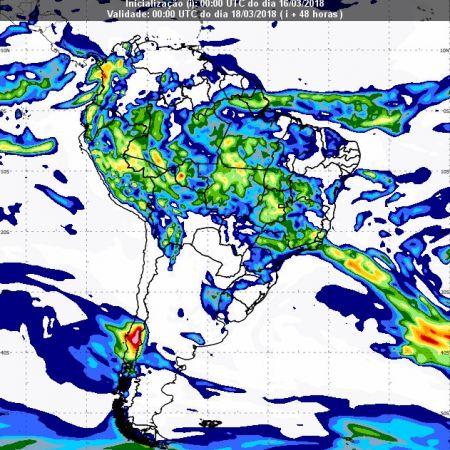 Previsão de chuvas dia 17 de março - Inmet