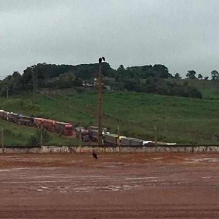 Trânsito de caminhões no acesso ao Porto de Miritituba - Foto: Reprodução/Redes sociais