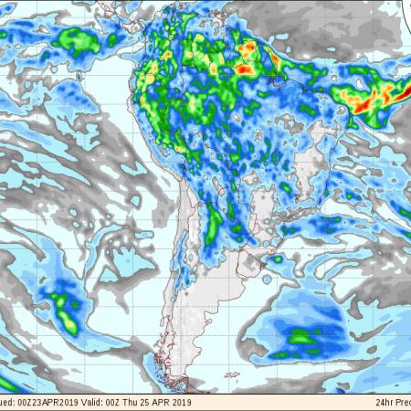 Mapa com a previsão de precipitação do GFS para os próximos 3 dias no Brasil - Fonte: Inmet