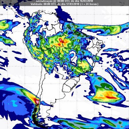 Previsão de chuvas dia 16 de março - Inmet