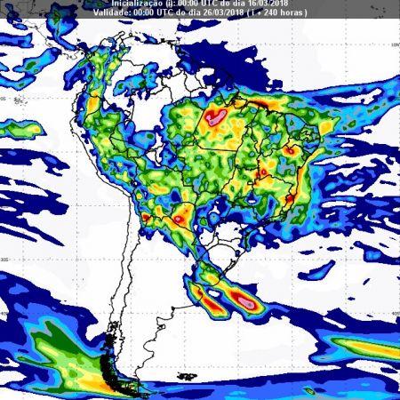 Previsão de chuvas dia 25 de março - Inmet