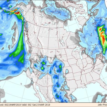 Mapas de previsão de chuva nos EUA nos próximos 4 dias - Fonte: NOAA