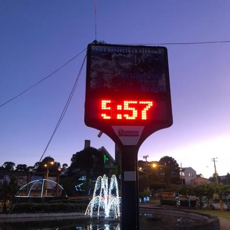 Registro do frio em Urupema (SC) - Foto: Reprodução/Redes sociais
