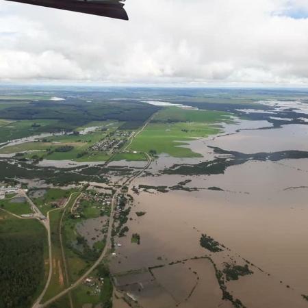 Registro de altos acumulados de chuva em cidades do RS nesta quinta-feira (10) - Foto: Reprodução/Redes sociais