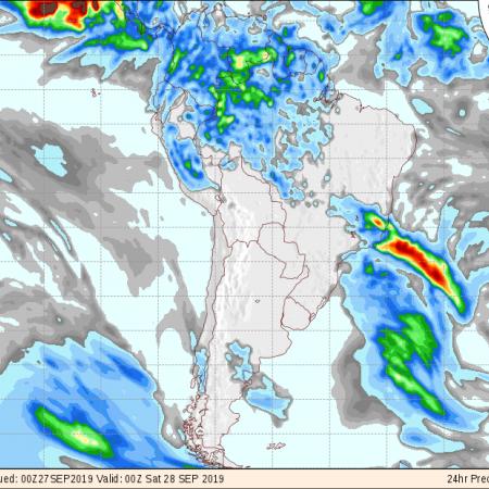 Mapa de previsão de precipitação para os próximos 6 dias em todo o Brasil do GFS - Fonte: National Centers for Environmental Prediction/NOAA