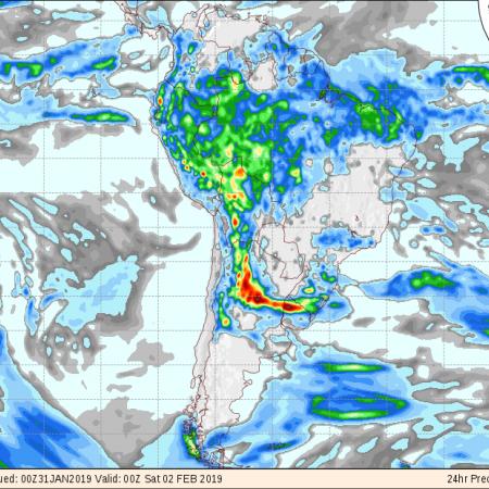 Mapa de previsão de precipitação do modelo GFS de 24 horas para os próximos 3 dias em todo o Brasil - Fonte: COLA (The Center for Ocean-Land-Atmosphere Studies)