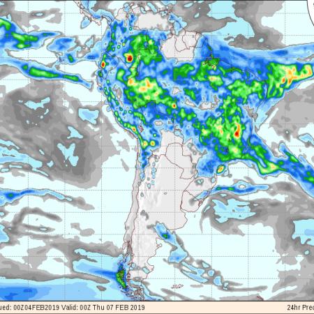 Mapa de previsão de precipitação do modelo GFS de 24 horas para os próximos 3 dias em todo o Brasil - Fonte: Inmet