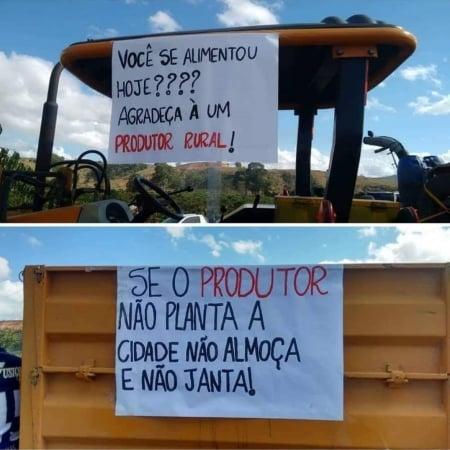 Manifestação de cafeicultores em Cabo Verde (MG) - Reprodução/Redes sociais