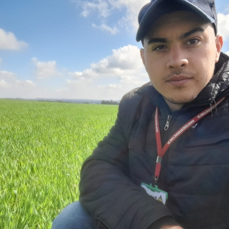 Técnico Barão monitorando as lavouras de trigo em Antônio Olinto-PR