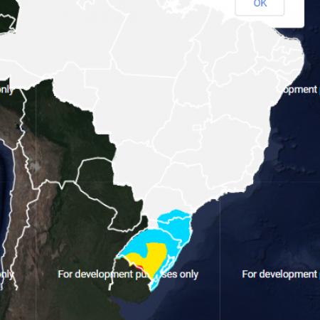 Mapa com a previsão do risco de geada em todo o Brasil nos próximos dias - Fonte: Inmet