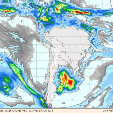 Mapa com previsão de chuva para o Brasil de 18 até 20 de junho - Fonte: Inmet