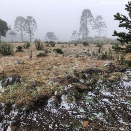 Neve nesta quinta-feira em Urubici (SC) - Foto: Fernando Keiser/ Reprodução Climatempo