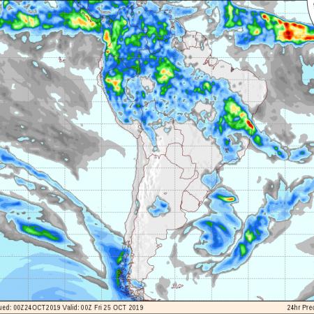Mapa do GFS com a previsão de precipitação para os próximos 3 dias - Fonte: National Centers for Environmental Prediction/NOAA