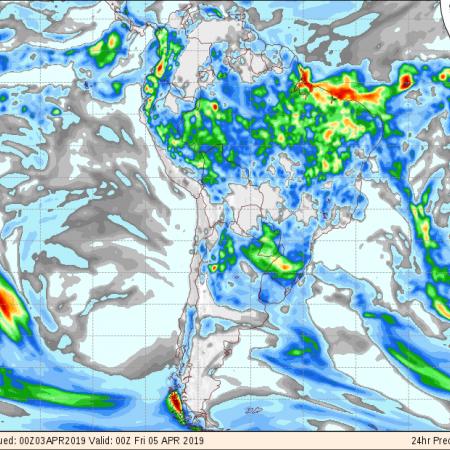 Mapa de previsão de precipitação acumulada para os próximos 3 dias no Brasil - Fonte: COLA