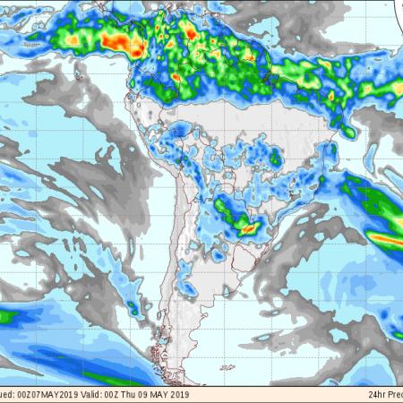 Mapa com a previsão de precipitação acumulada do GFS para os próximos 3 dias em todo o Brasil - Fonte: COLA