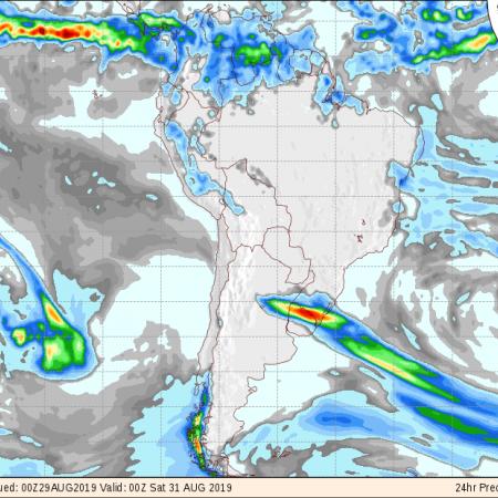 Mapa com a previsão de precipitação acumulada para os próximos 3 dias em todo o Brasil - Fonte: COLA