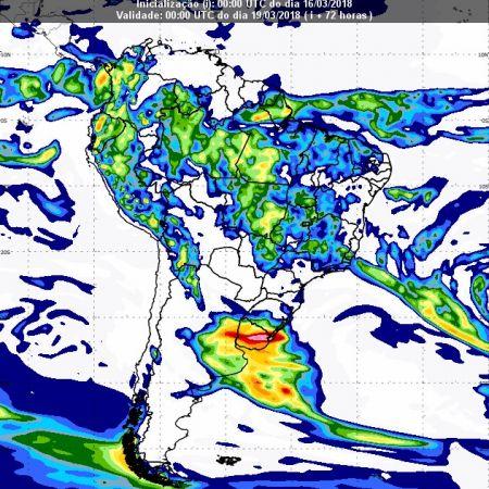 Previsão de chuvas dia 18 de março - Inmet