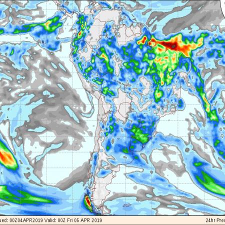 Mapa de previsão de precipitação acumulada do GFS para os próximos 3 dias no Brasil - Fonte: COLA