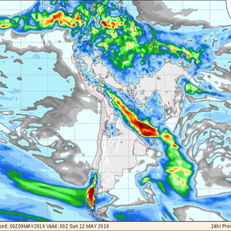 Mapa com a previsão de precipitação acumulada do GFS para os próximos 3 dias em todo o Brasil - Fonte: Inmet