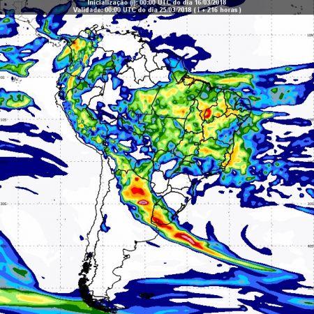 Previsão de chuvas dia 24 de março - Inmet