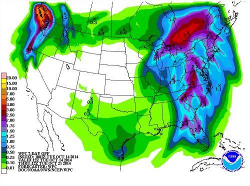 Chuvas nos próximos 7 dias - EUA - Fonte: NOAA