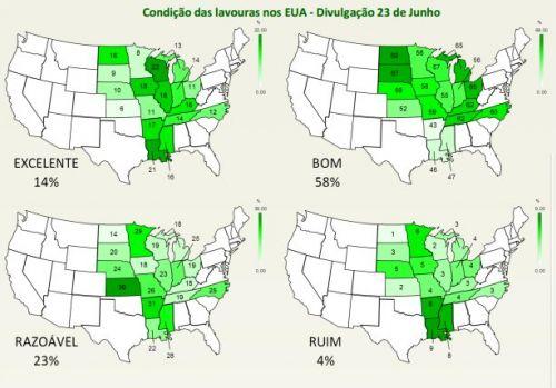 Condições das lavouras nos EUA - Imagem: ODS Serviços em Agronegócio
