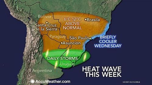 Onda de Calor na América do Sul - Imagem: AccuWeather