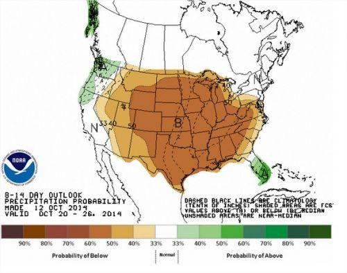 Chuvas nos EUA - 20 a 26 de outubro - Fonte: NOAA