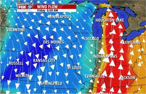 Mapa EUA 3 - Direção e intensidade dos ventos - Canal Fox