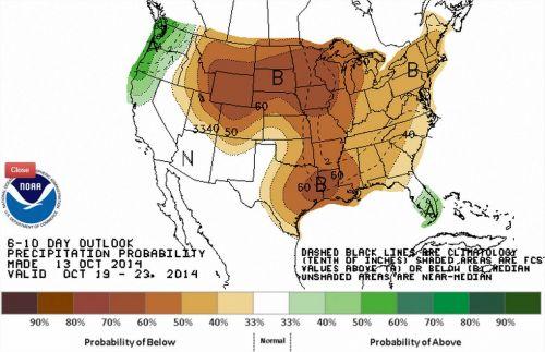 Chuvas de 19 a 23 de outubro nos EUA - Fonte: NOAA