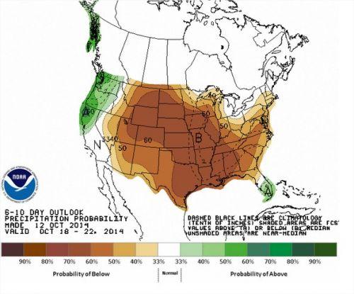 Chuvas nos EUA - 18 a 22 de outubro - Fonte: NOAA