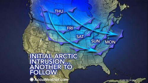 Massa de Ar Polar chegando ao Meio-Oeste americano