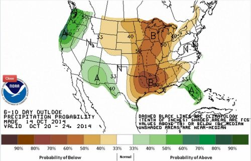 Chuvas nos EUA de 20 a 24 de outubro - Fonte: NOAA