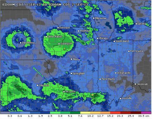 Precipitações das últimas 24 horas em Illinois/EUA