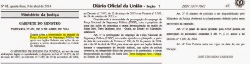 Diário Oficial da União - Questão Indígena