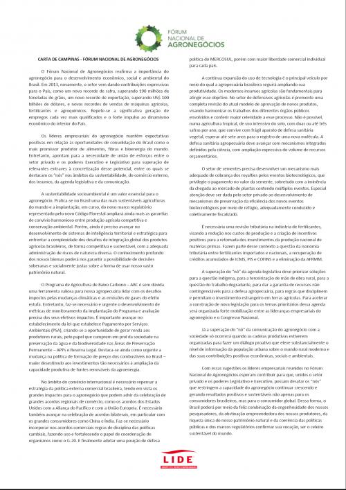 Carta de Campinas - Fórum Nacional do Agronegócio