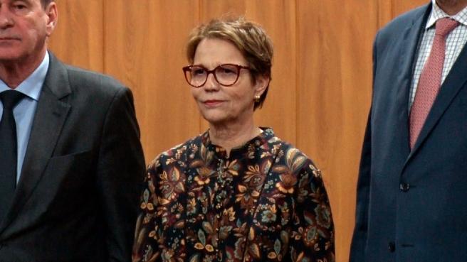 Tereza Cristina Ministra da Agricultura Coletiva de imprensa Embrapa 30 anos, Campinas/SP