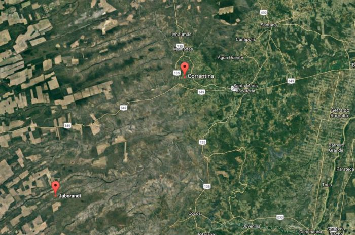 Mapa Jaborandi e Correntina
