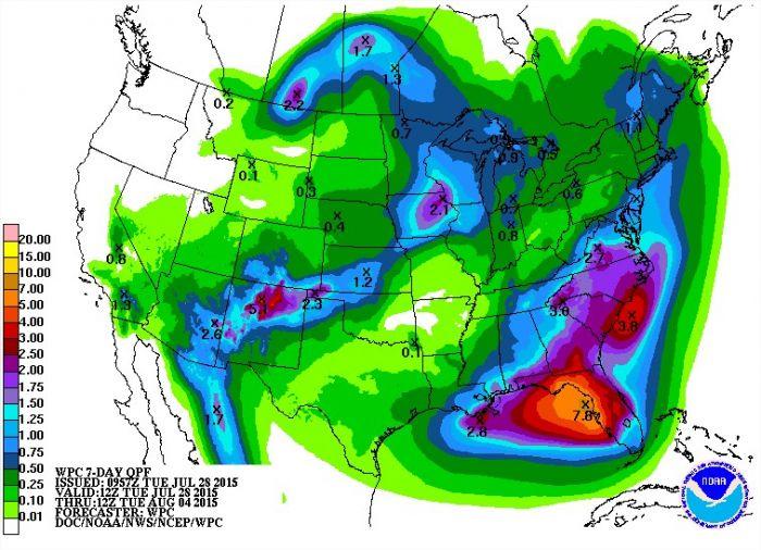 Previsão de chuvas nos EUA entre os dias 28 de julho a 4 de agosto - Fonte: NOAA