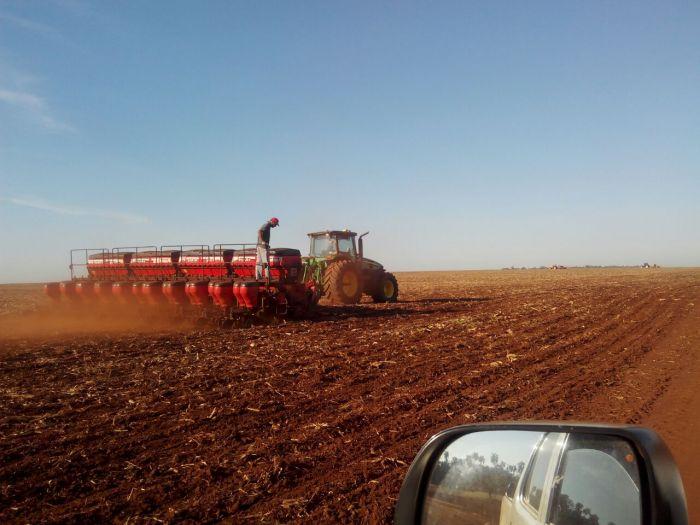 Início do plantio de soja na Estância Bom Sucesso, em Salto Del Guairá (PY), do produtor Rui Carlos Ferri