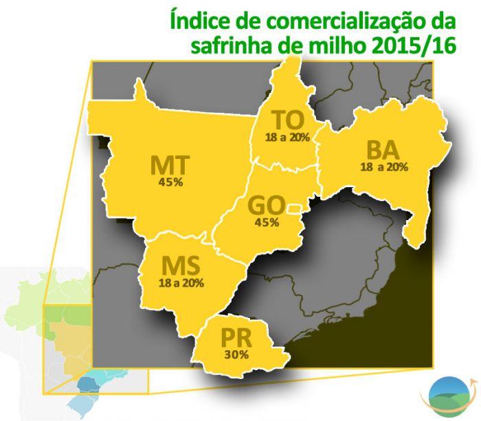 Mapa - Índice de comercialização da safrinha de milho 2015/16