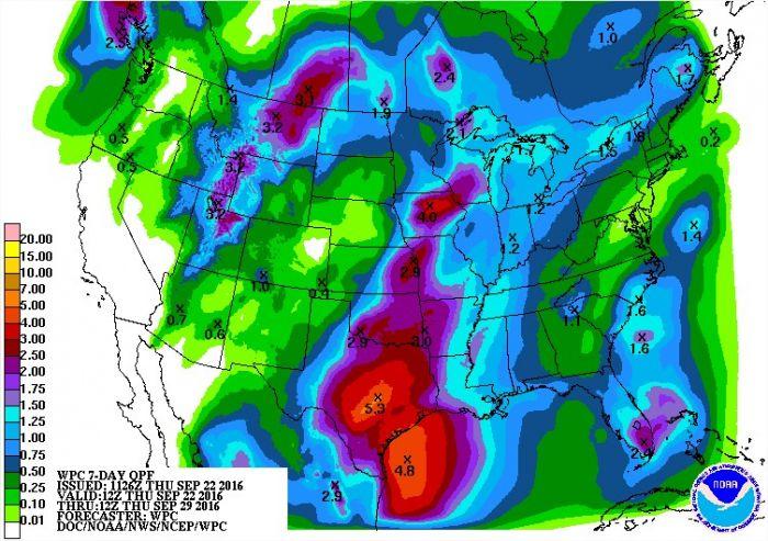 Chuvas para os próximos 7 dias nos EUA - Fonte: NOAA