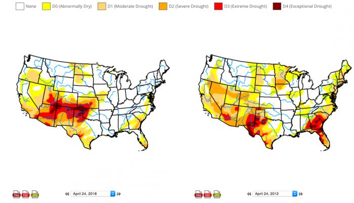 Mapas comparativos da seca nos EUA 2012 x 2018