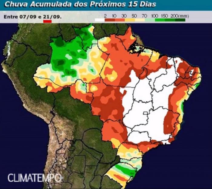 Chuva acumulada 15 dias no Brasil - Fonte: Climatempo
